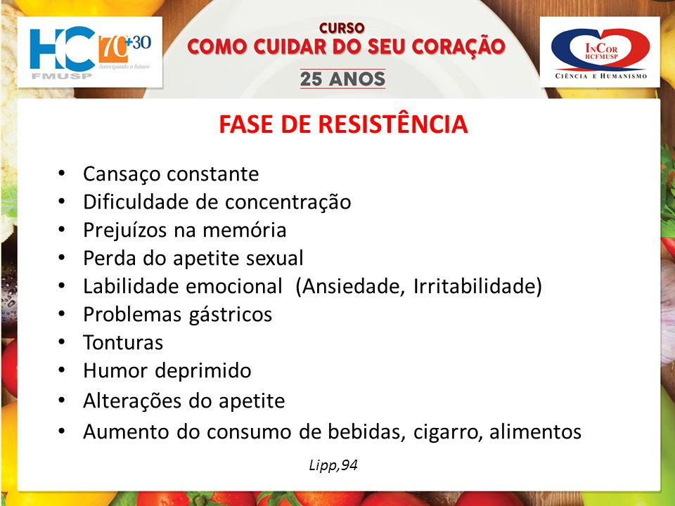 FASE DE RESISTÊNCIA Lipp,94 Cansaço constante