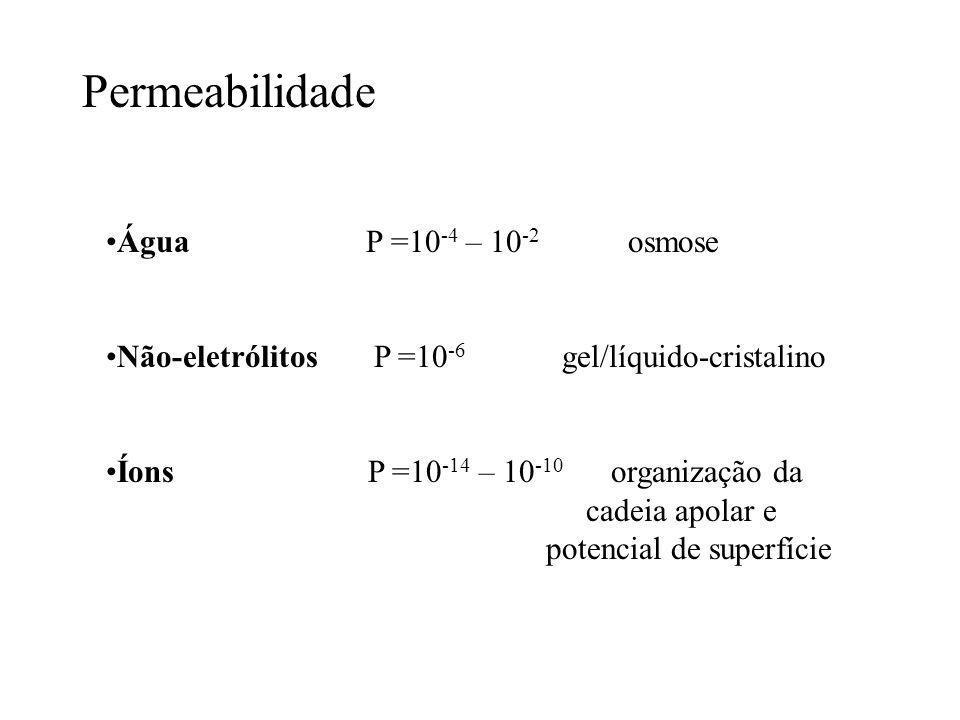 Permeabilidade Água P =10-4 – 10-2 osmose