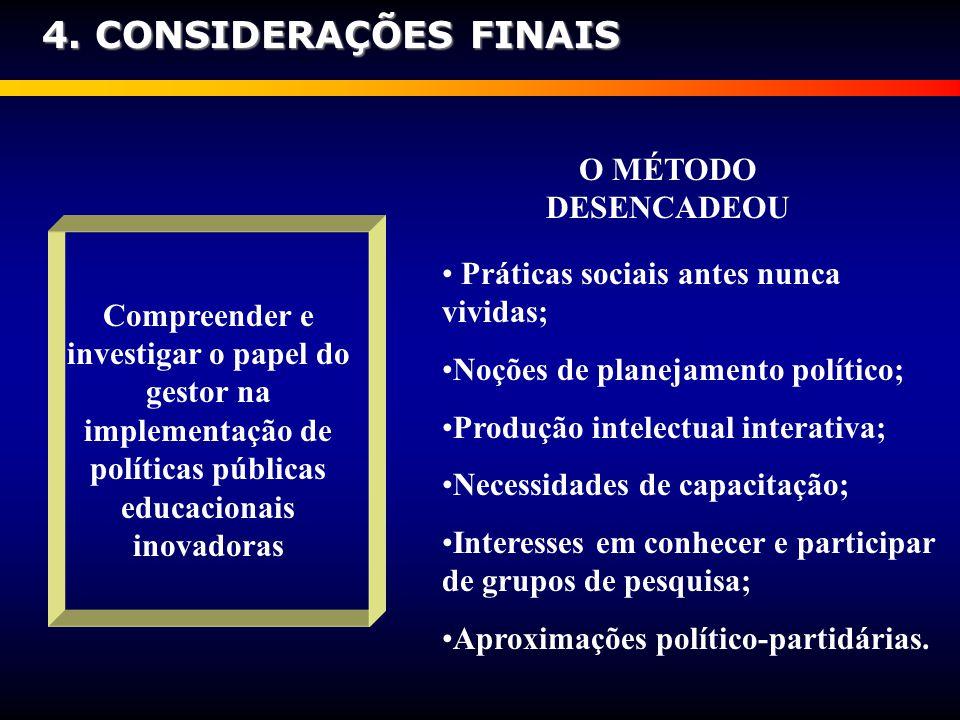4. CONSIDERAÇÕES FINAIS O MÉTODO DESENCADEOU