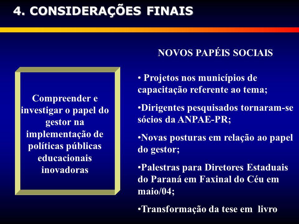 4. CONSIDERAÇÕES FINAIS NOVOS PAPÉIS SOCIAIS