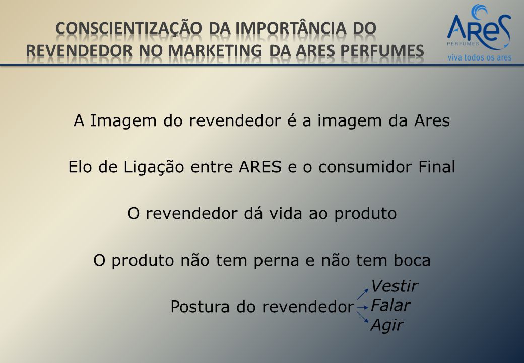 Conscientização da importância do revendedor no Marketing da Ares Perfumes