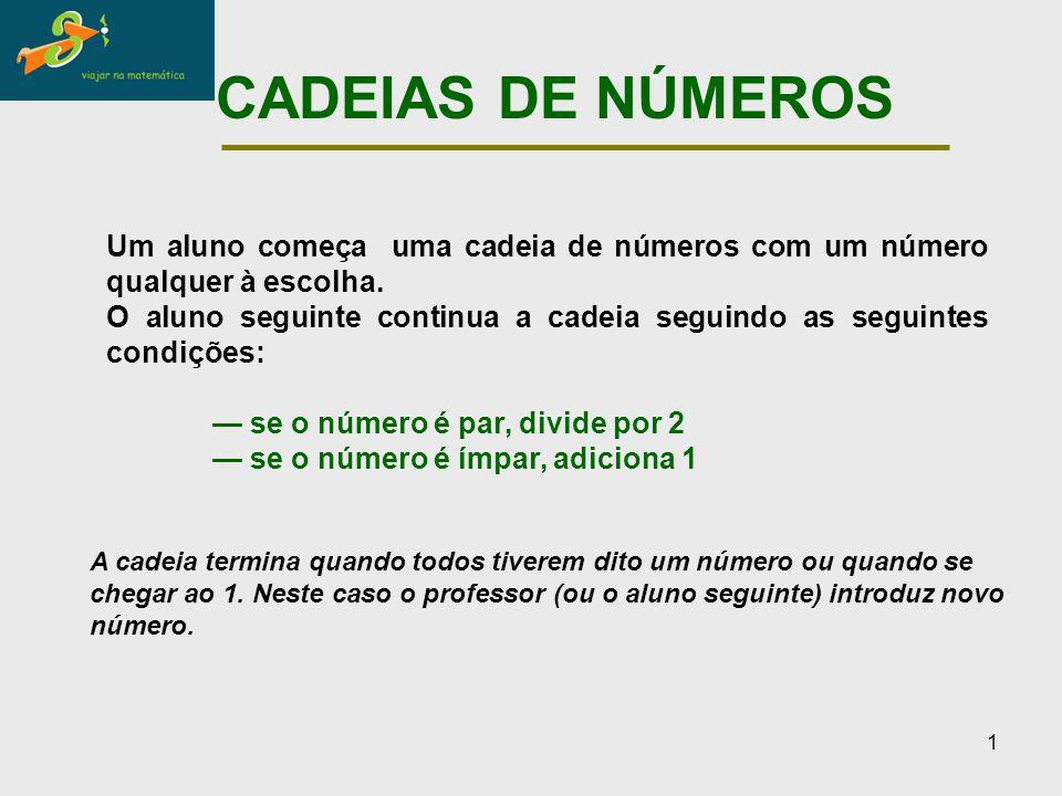 CADEIAS DE NÚMEROS Um aluno começa uma cadeia de números com um número qualquer à escolha.