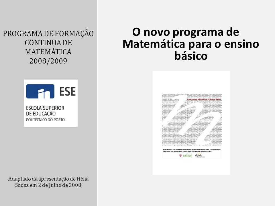 O novo programa de Matemática para o ensino básico