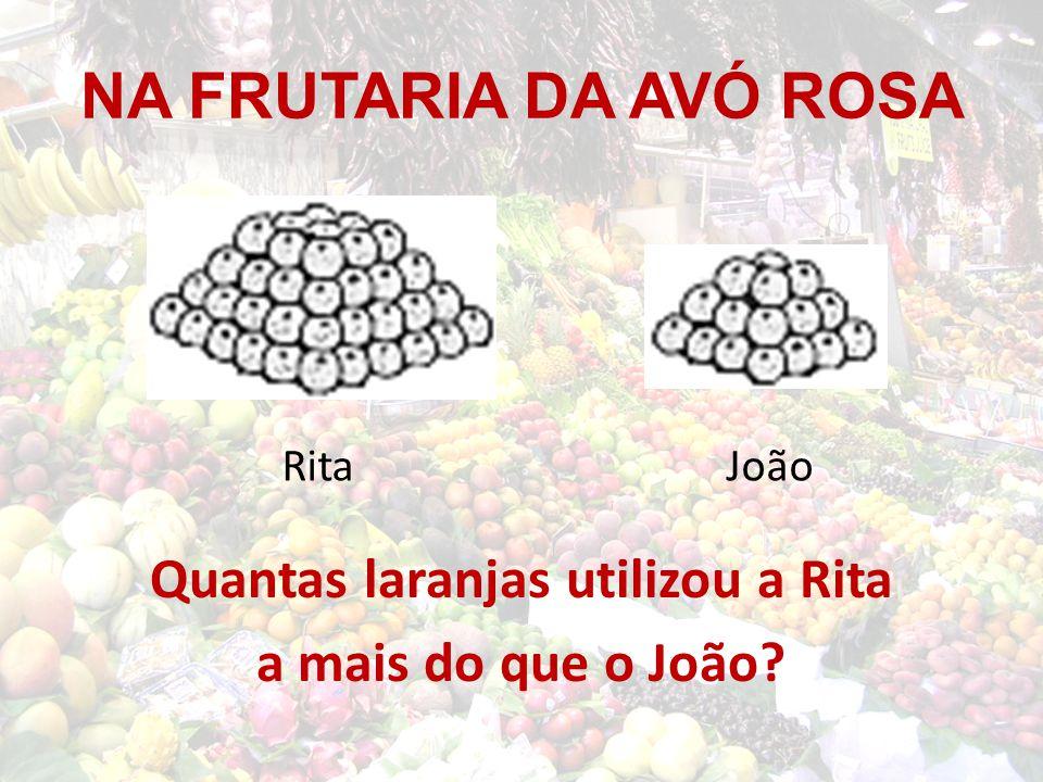 Quantas laranjas utilizou a Rita a mais do que o João