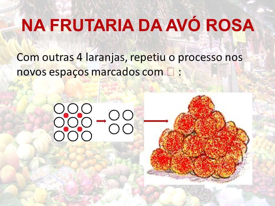 NA FRUTARIA DA AVÓ ROSA Com outras 4 laranjas, repetiu o processo nos novos espaços marcados com  :