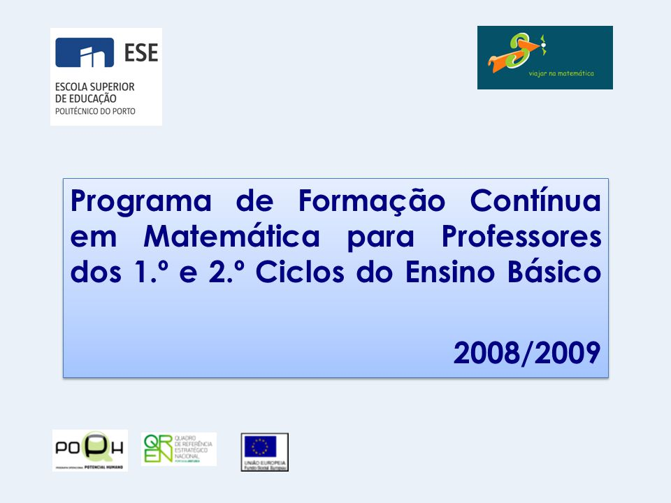 Programa de Formação Contínua em Matemática para Professores dos 1
