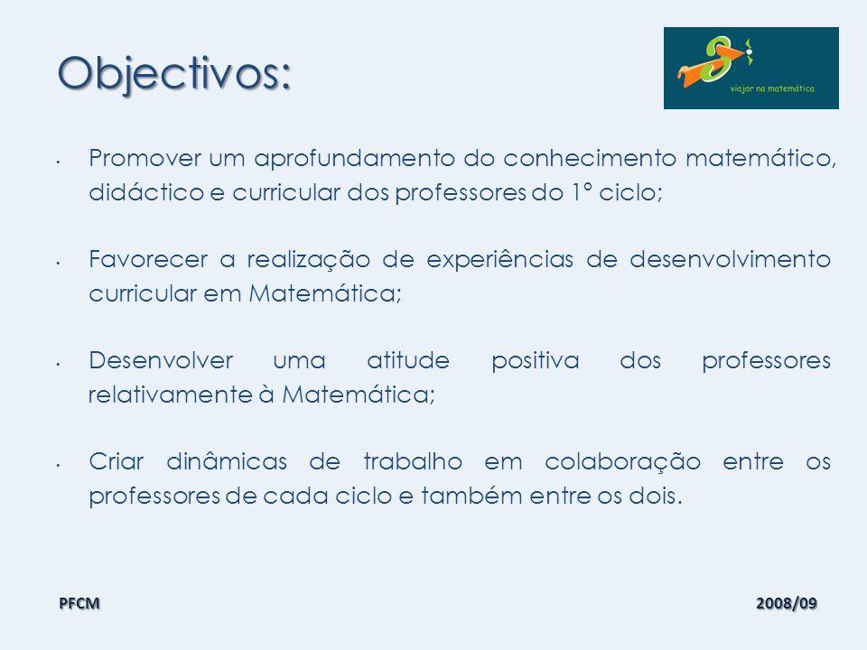 Objectivos: Promover um aprofundamento do conhecimento matemático, didáctico e curricular dos professores do 1º ciclo;