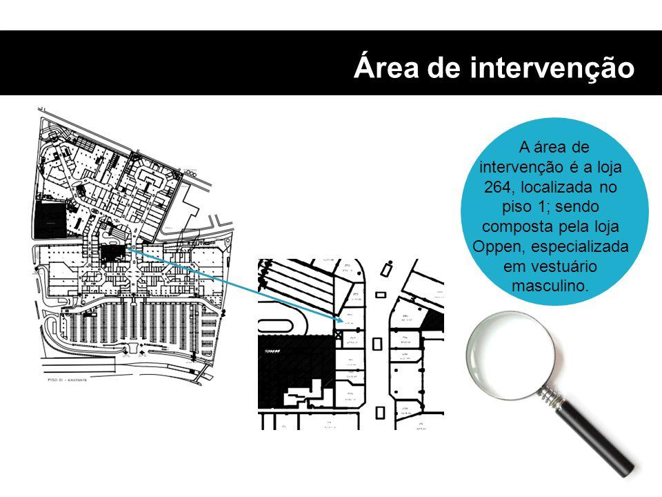 Área de intervenção A área de intervenção é a loja 264, localizada no piso 1; sendo composta pela loja Oppen, especializada em vestuário masculino.