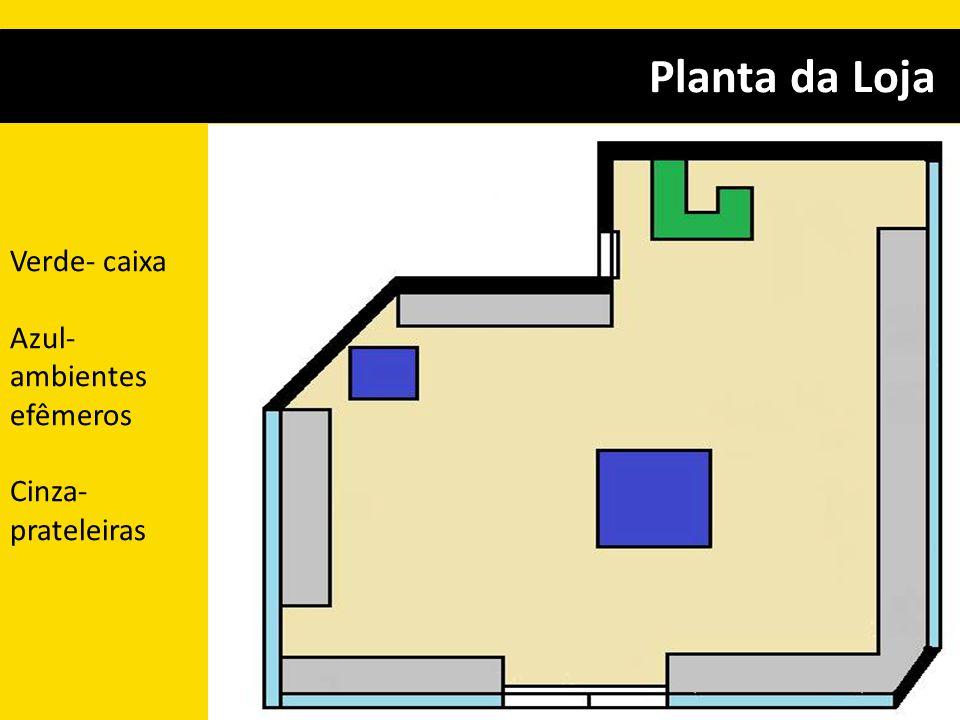 Planta da Loja Verde- caixa Azul-ambientes efêmeros Cinza- prateleiras