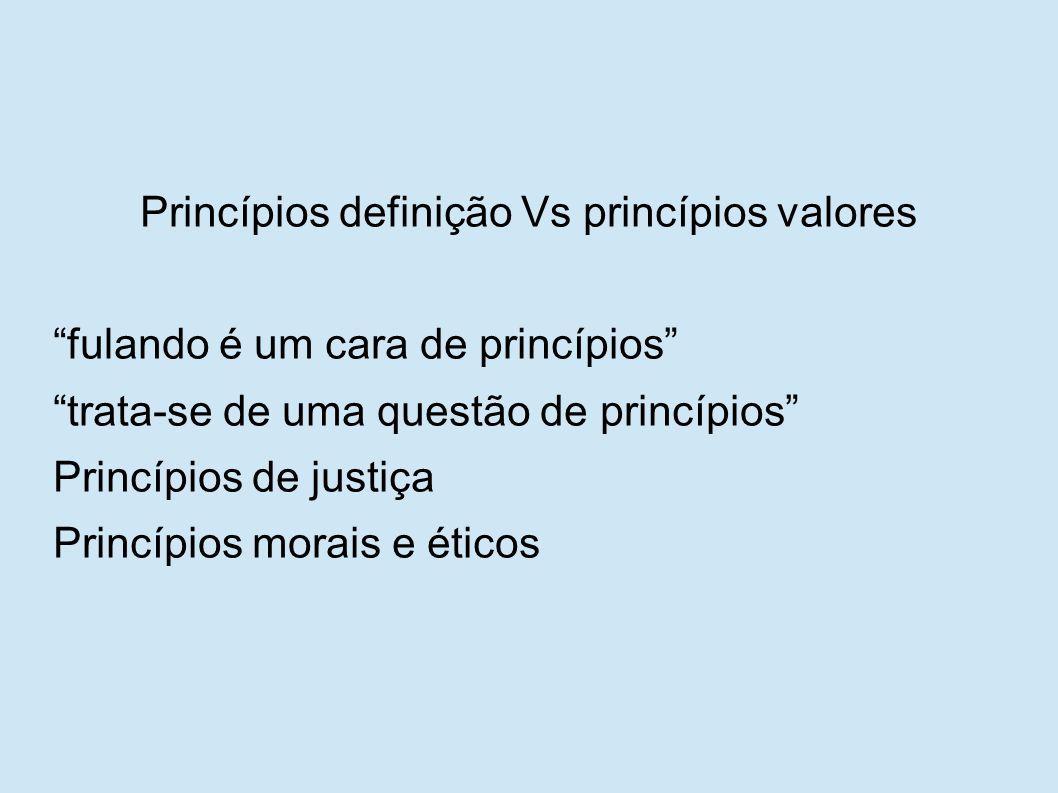 Princípios definição Vs princípios valores