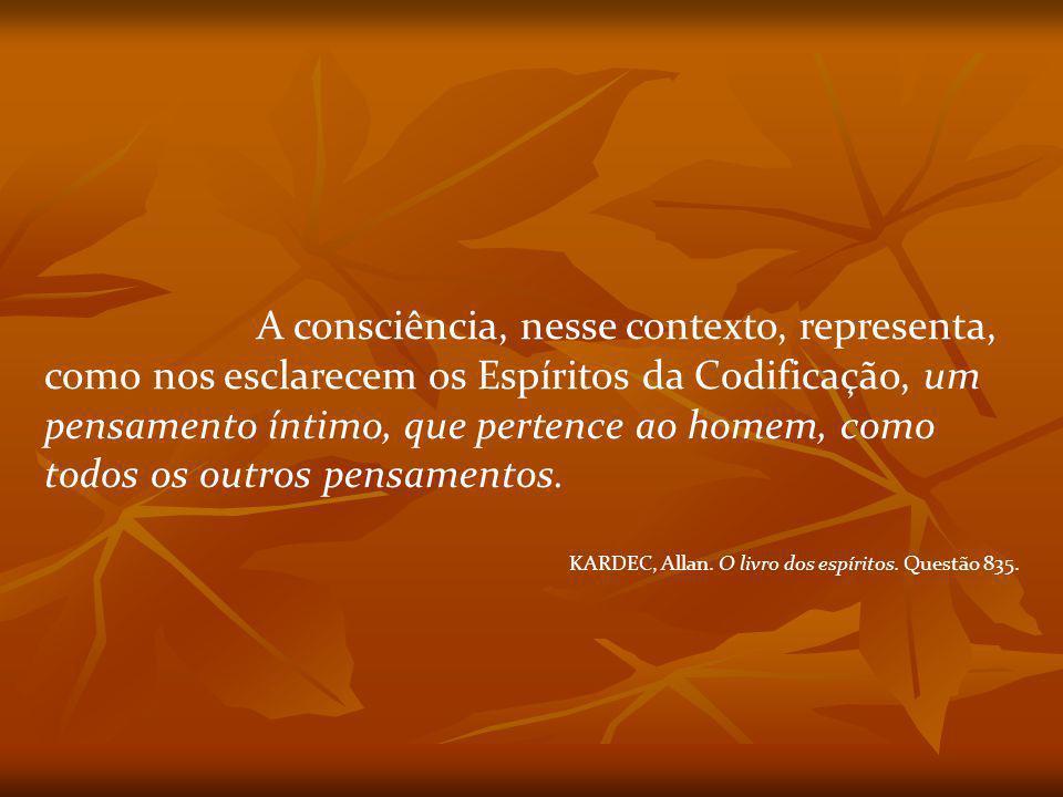 A consciência, nesse contexto, representa, como nos esclarecem os Espíritos da Codificação, um pensamento íntimo, que pertence ao homem, como todos os outros pensamentos.