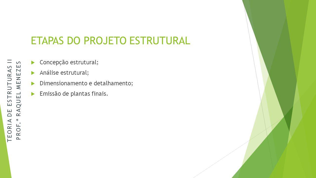 ETAPAS DO PROJETO ESTRUTURAL