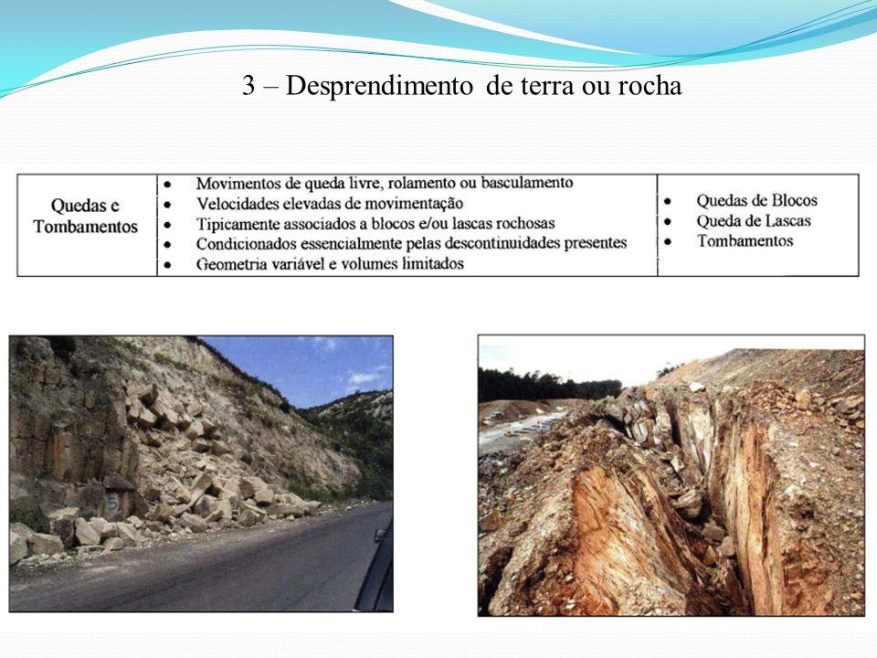 3 – Desprendimento de terra ou rocha