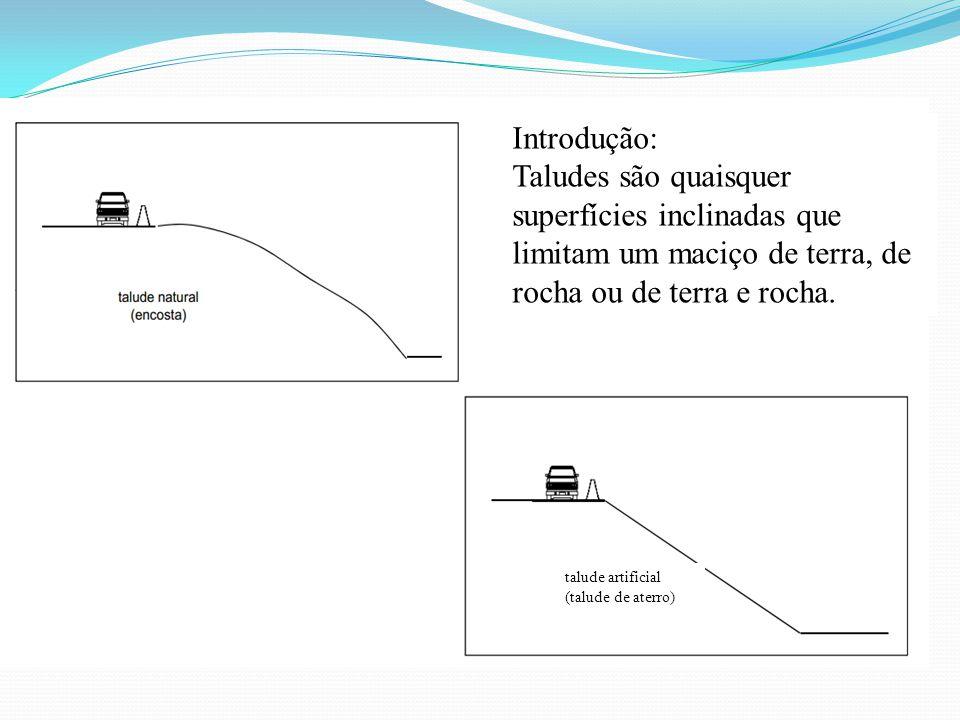Introdução: Taludes são quaisquer superfícies inclinadas que limitam um maciço de terra, de rocha ou de terra e rocha.