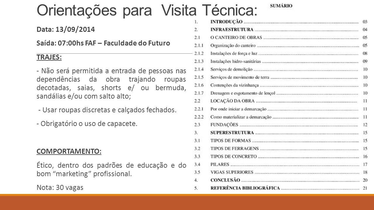 Orientações para Visita Técnica: