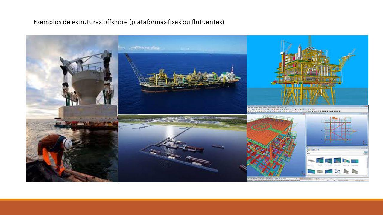 Exemplos de estruturas offshore (plataformas fixas ou flutuantes)