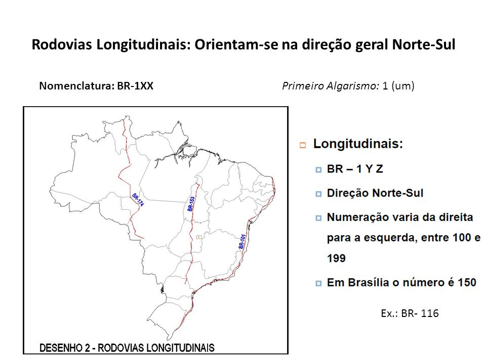 Rodovias Longitudinais: Orientam-se na direção geral Norte-Sul