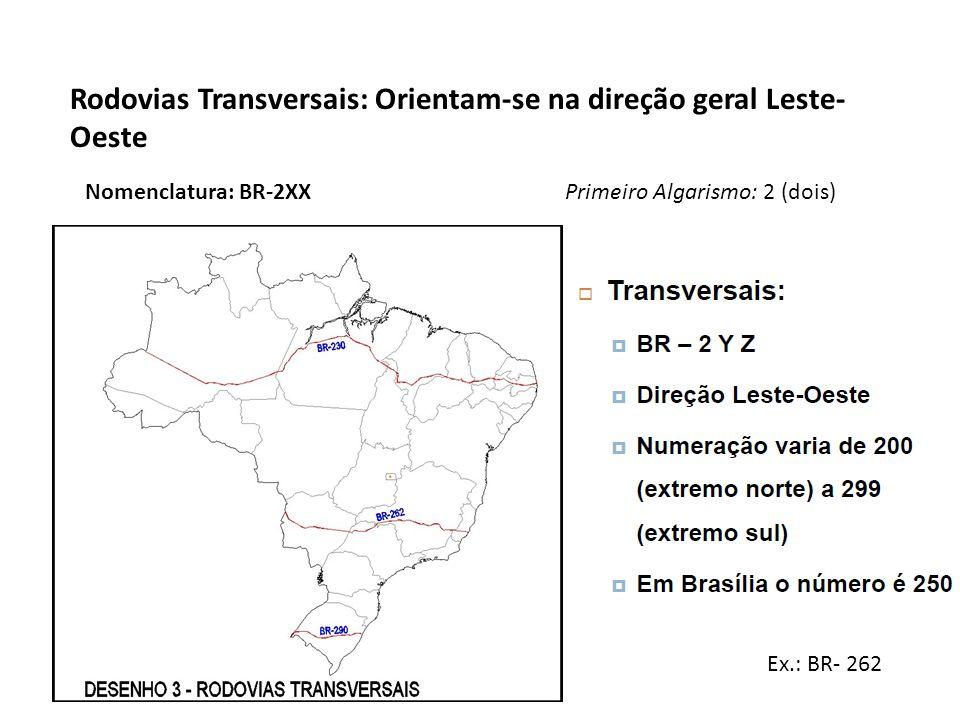 Rodovias Transversais: Orientam-se na direção geral Leste-Oeste