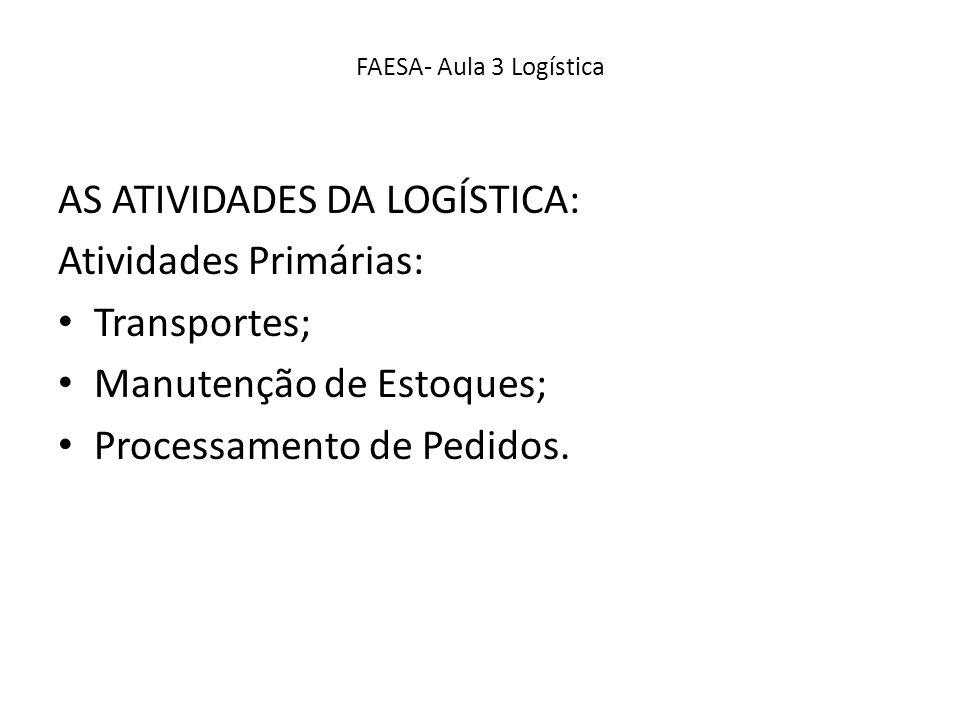 AS ATIVIDADES DA LOGÍSTICA: Atividades Primárias: Transportes;