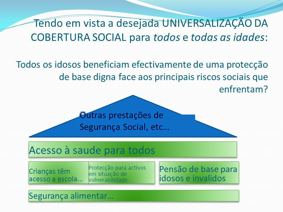Tendo em vista a desejada UNIVERSALIZAÇÃO DA COBERTURA SOCIAL para todos e todas as idades: Todos os idosos beneficiam efectivamente de uma protecção de base digna face aos principais riscos sociais que enfrentam