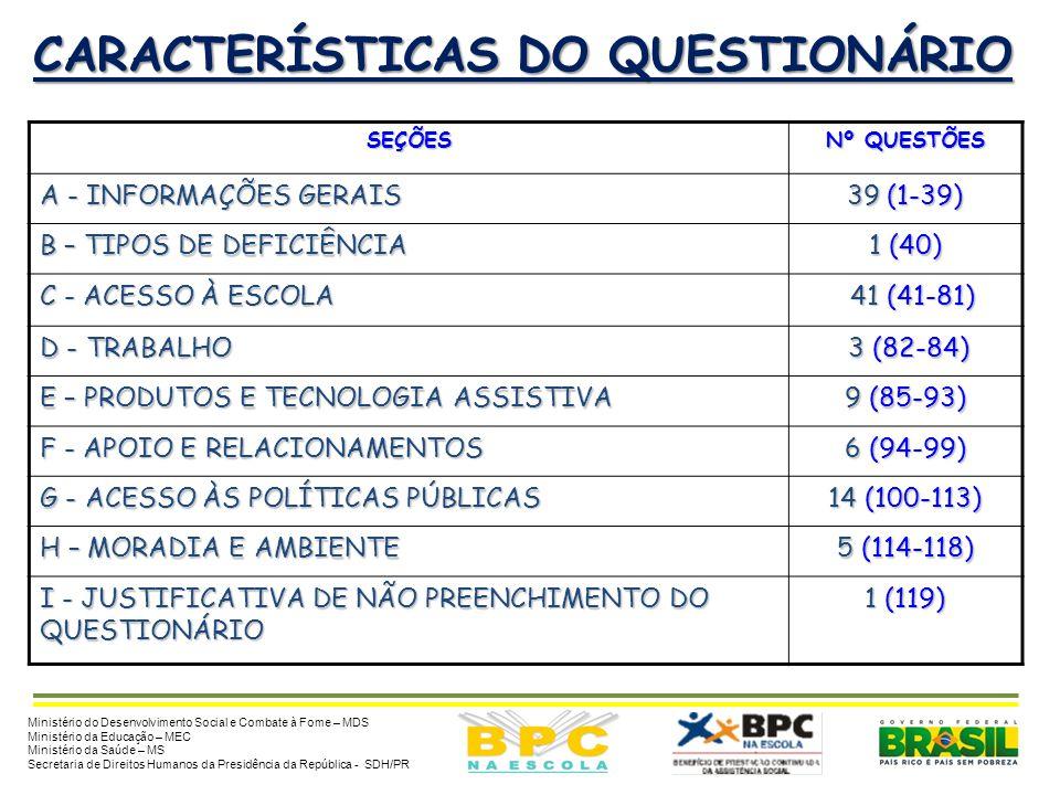 CARACTERÍSTICAS DO QUESTIONÁRIO