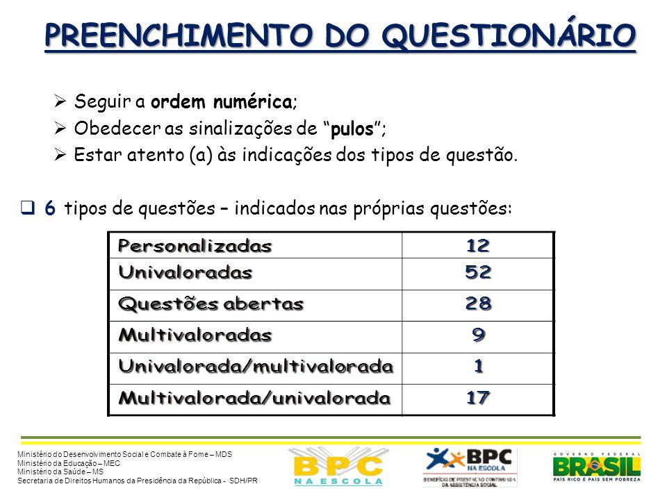 PREENCHIMENTO DO QUESTIONÁRIO