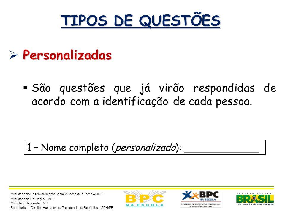 TIPOS DE QUESTÕES Personalizadas
