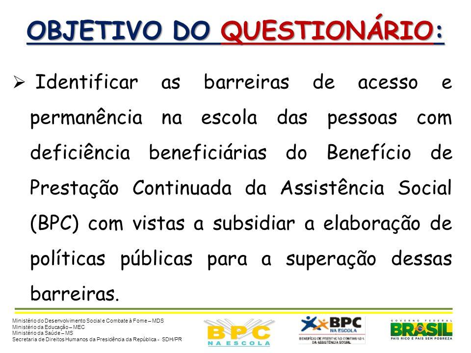 OBJETIVO DO QUESTIONÁRIO: