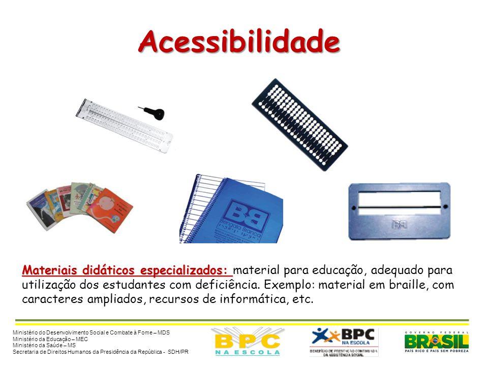 Acessibilidade Materiais didáticos especializados: material para educação, adequado para.
