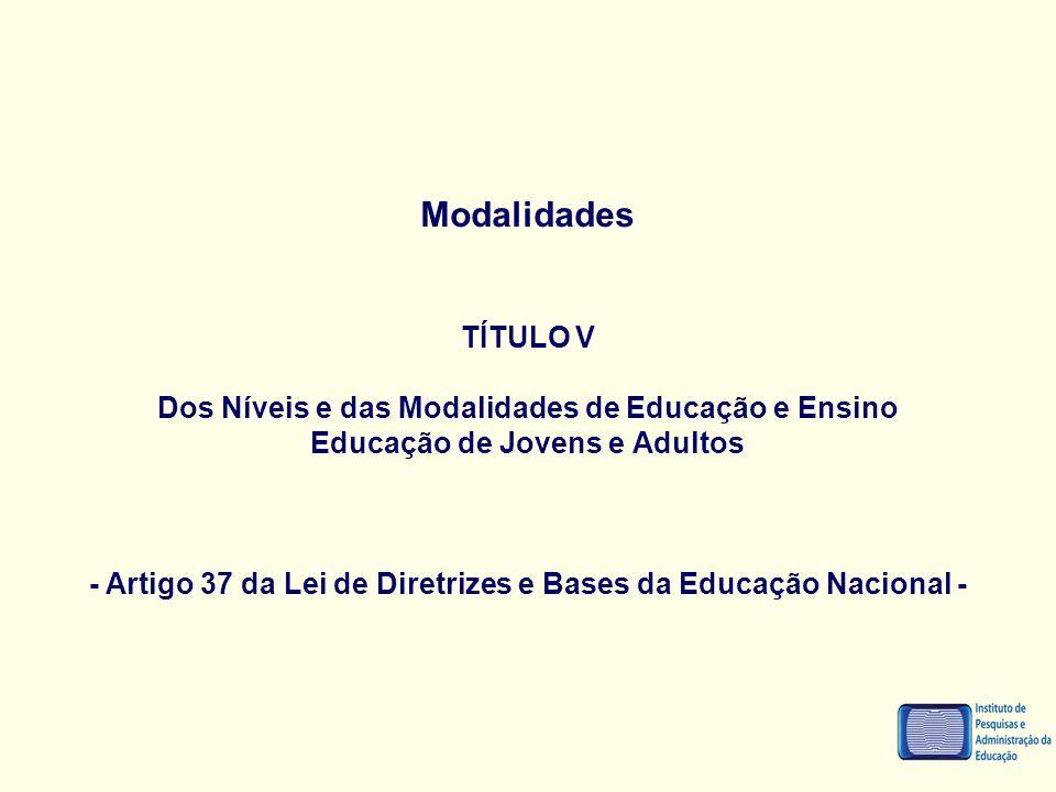 Modalidades TÍTULO V Dos Níveis e das Modalidades de Educação e Ensino