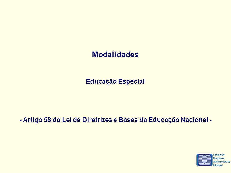- Artigo 58 da Lei de Diretrizes e Bases da Educação Nacional -