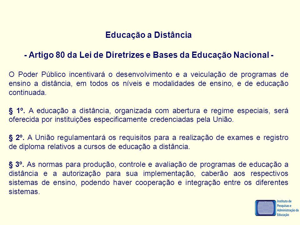 - Artigo 80 da Lei de Diretrizes e Bases da Educação Nacional -
