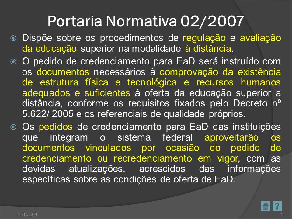 Portaria Normativa 02/2007 Dispõe sobre os procedimentos de regulação e avaliação da educação superior na modalidade à distância.