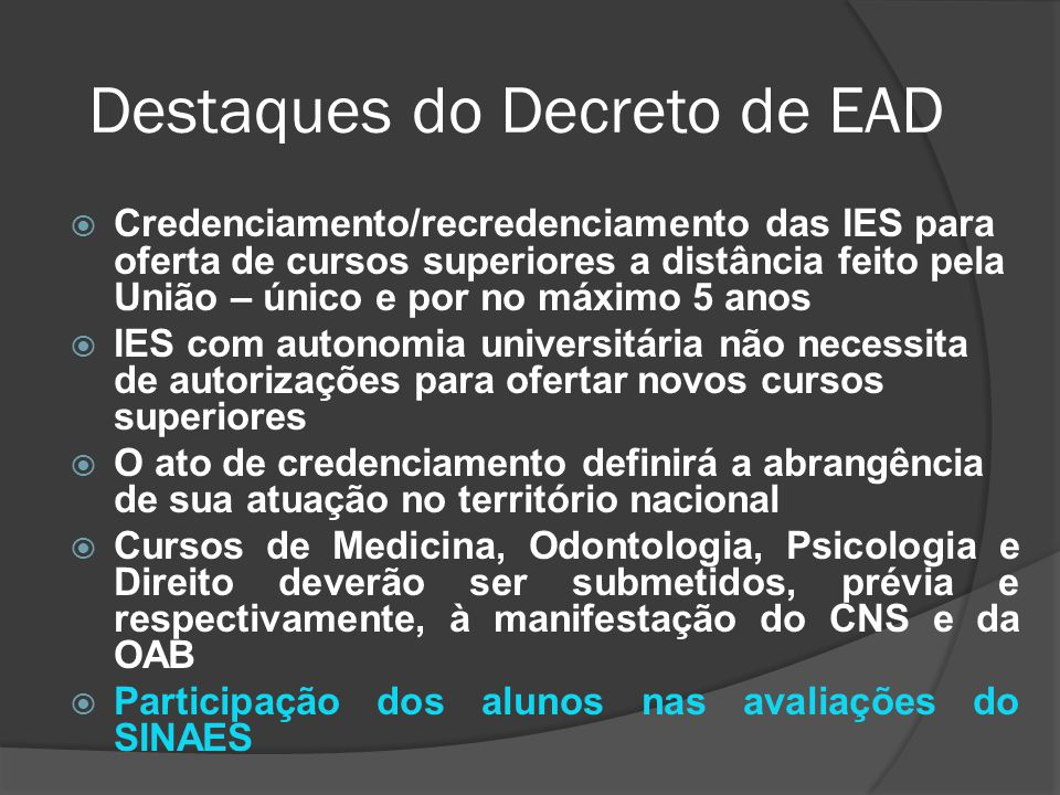 Destaques do Decreto de EAD