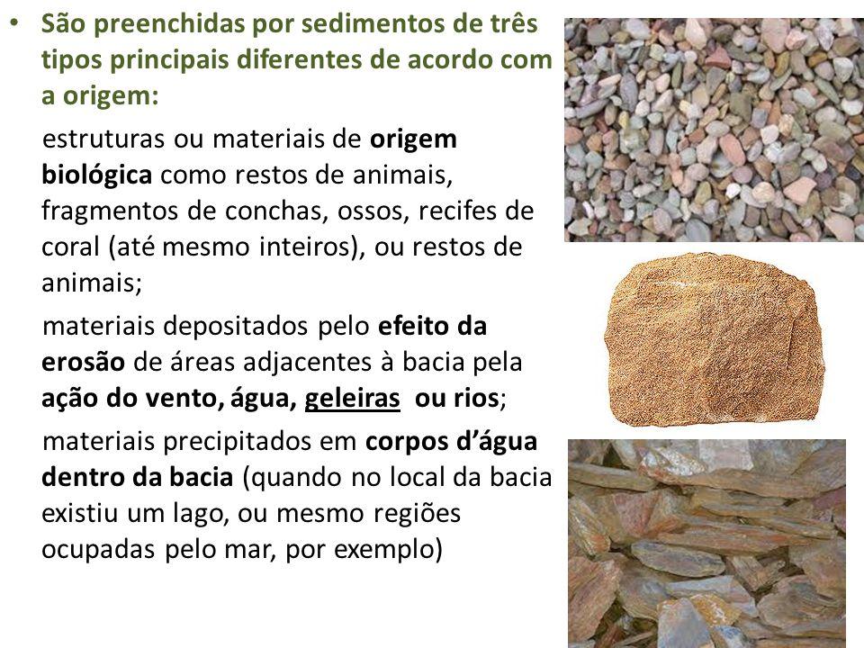 São preenchidas por sedimentos de três tipos principais diferentes de acordo com a origem: