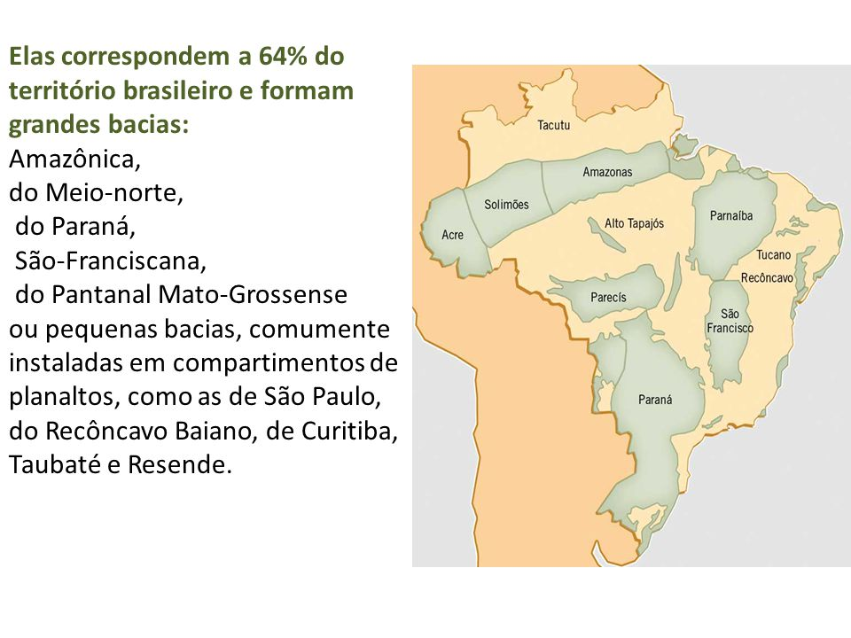 Elas correspondem a 64% do território brasileiro e formam grandes bacias: