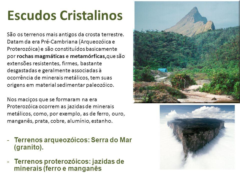 Escudos Cristalinos Terrenos arqueozóicos: Serra do Mar (granito).
