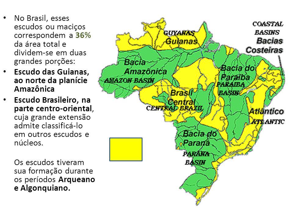 No Brasil, esses escudos ou maciços correspondem a 36% da área total e dividem-se em duas grandes porções: