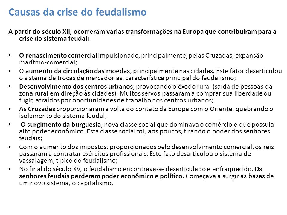 Causas da crise do feudalismo