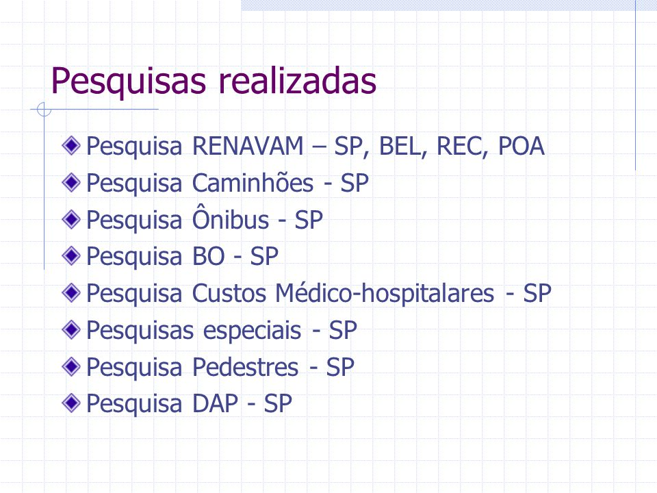 Pesquisas realizadas Pesquisa RENAVAM – SP, BEL, REC, POA