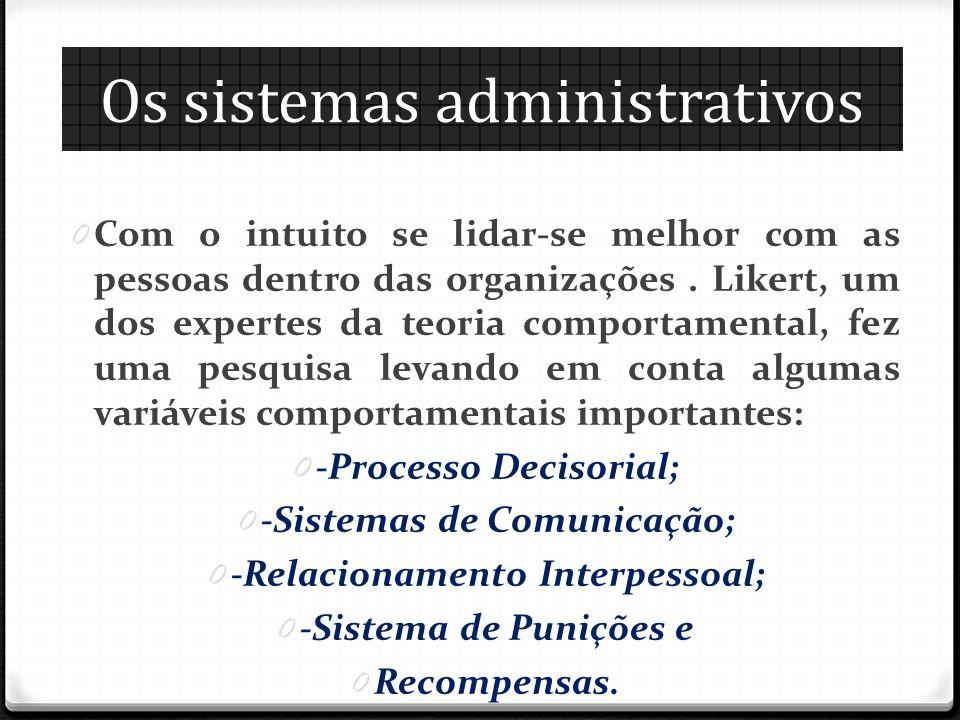 Os sistemas administrativos