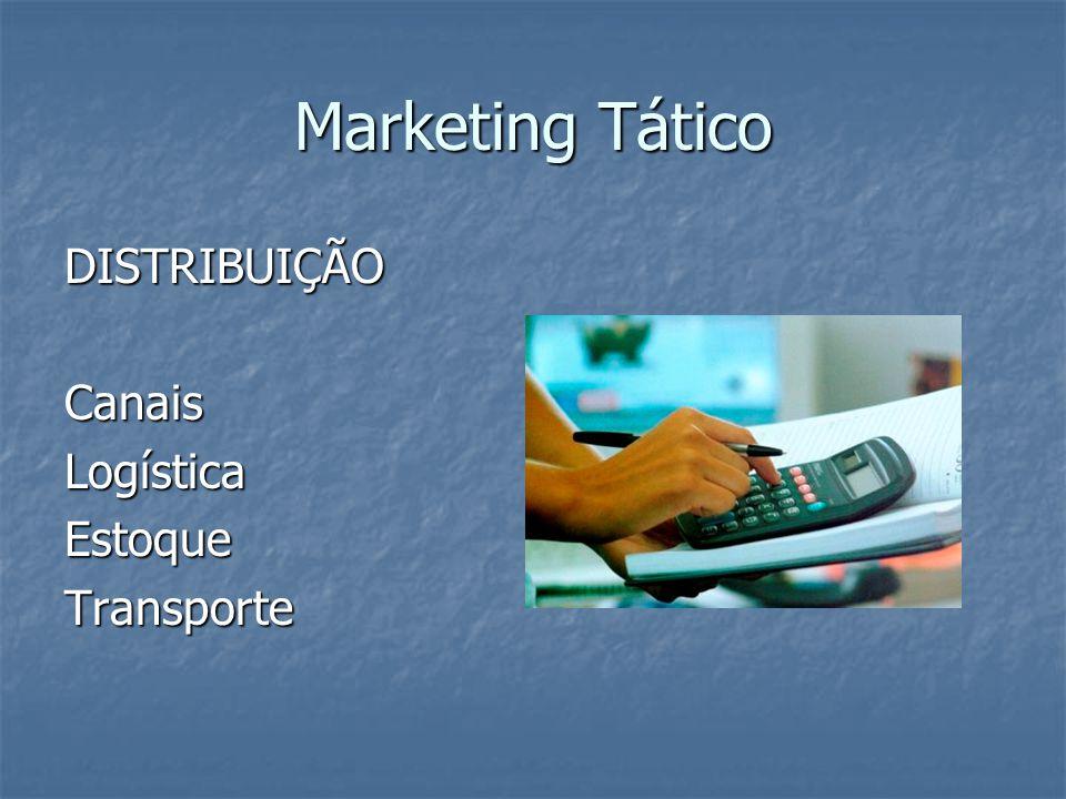 Marketing Tático DISTRIBUIÇÃO Canais Logística Estoque Transporte