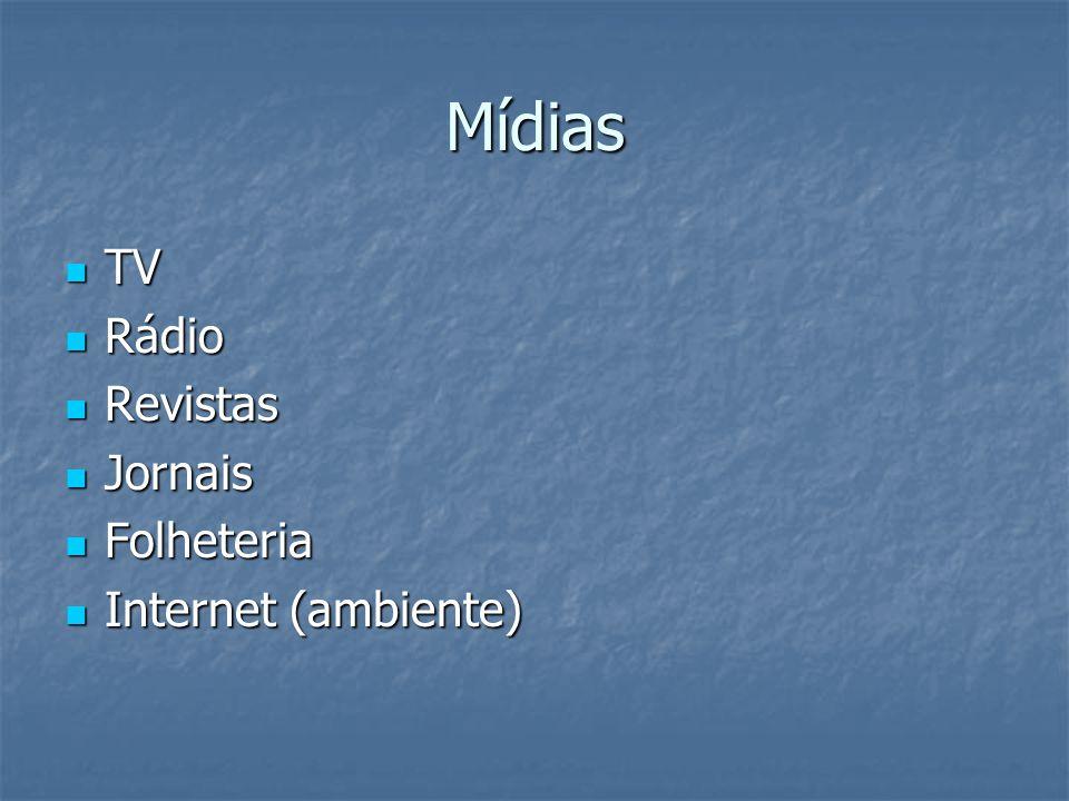 Mídias TV Rádio Revistas Jornais Folheteria Internet (ambiente)