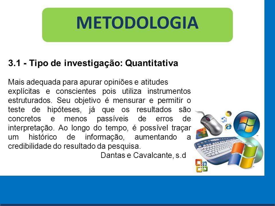 METODOLOGIA 3.1 - Tipo de investigação: Quantitativa