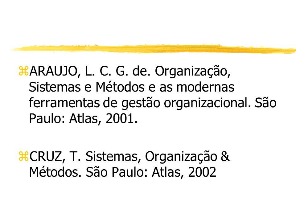 ARAUJO, L. C. G. de. Organização, Sistemas e Métodos e as modernas ferramentas de gestão organizacional. São Paulo: Atlas, 2001.