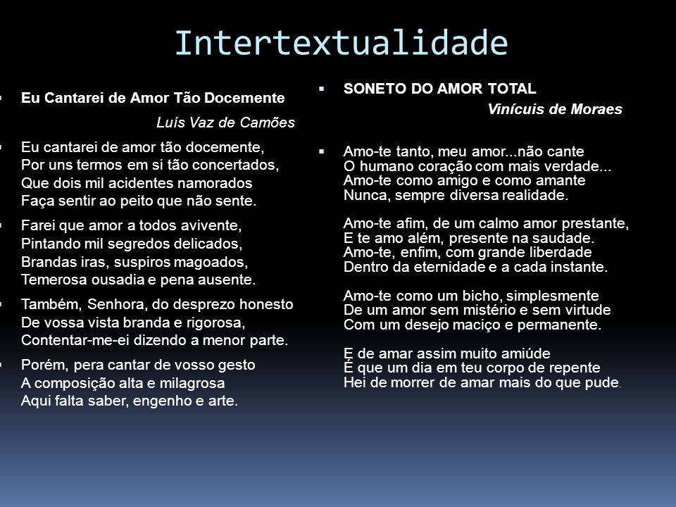 Intertextualidade SONETO DO AMOR TOTAL