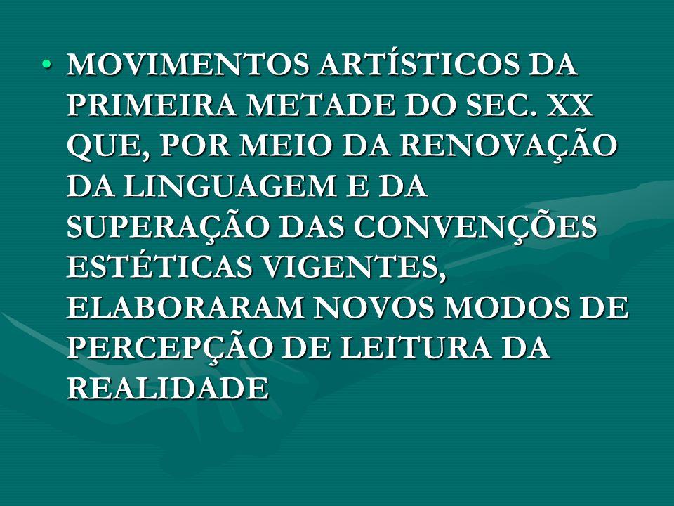 MOVIMENTOS ARTÍSTICOS DA PRIMEIRA METADE DO SEC