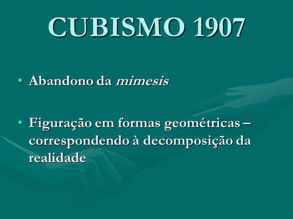 CUBISMO 1907 Abandono da mimesis