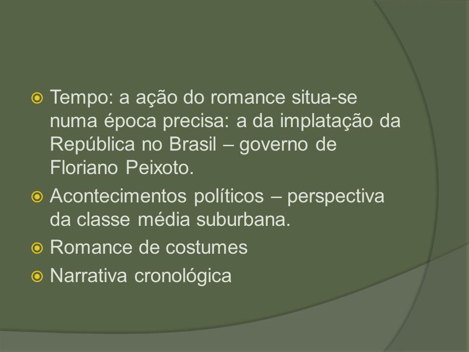 Tempo: a ação do romance situa-se numa época precisa: a da implatação da República no Brasil – governo de Floriano Peixoto.