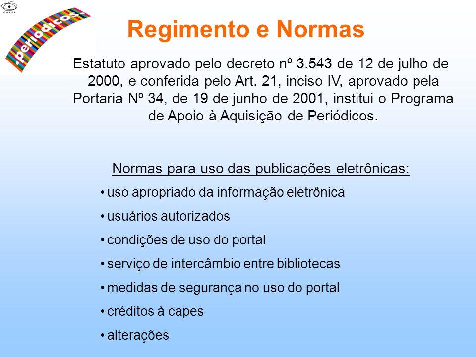 Normas para uso das publicações eletrônicas: